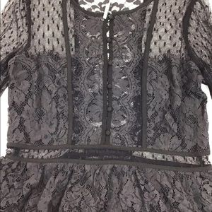 Free People Tops - Free People Black Lace Bell Sleeve Blouse XS